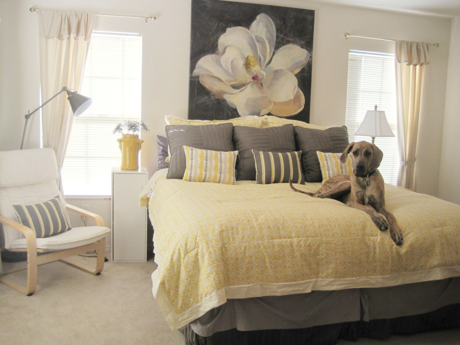 romantic-yellow-and-grey-bedroom-with-white-floral-pattern-master ..