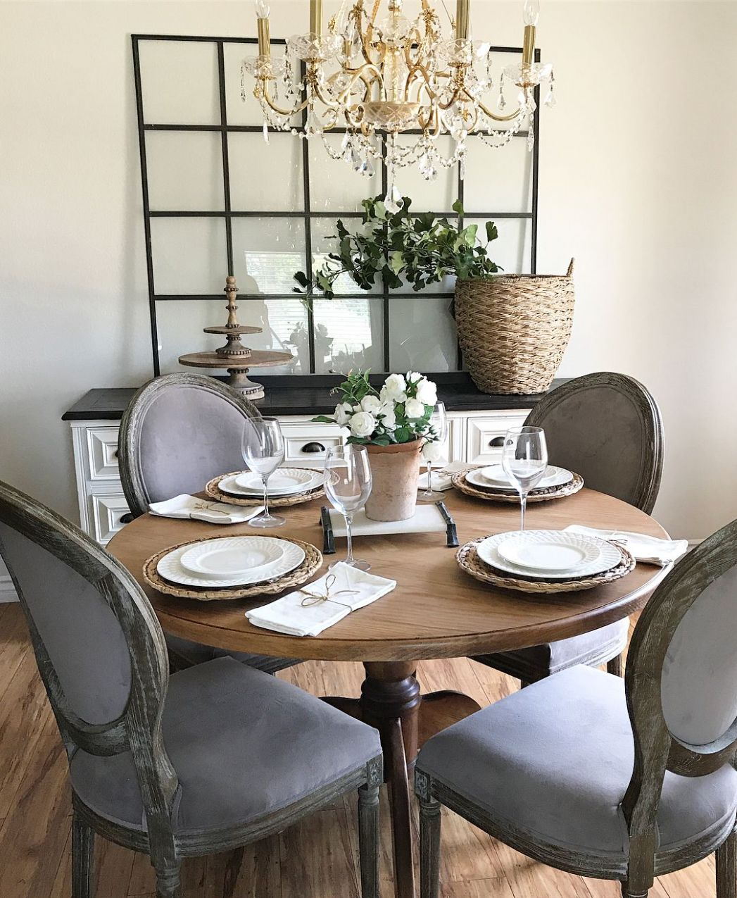 Round Dining Table , Farmhouse Glam, gold chandelier | Round ...