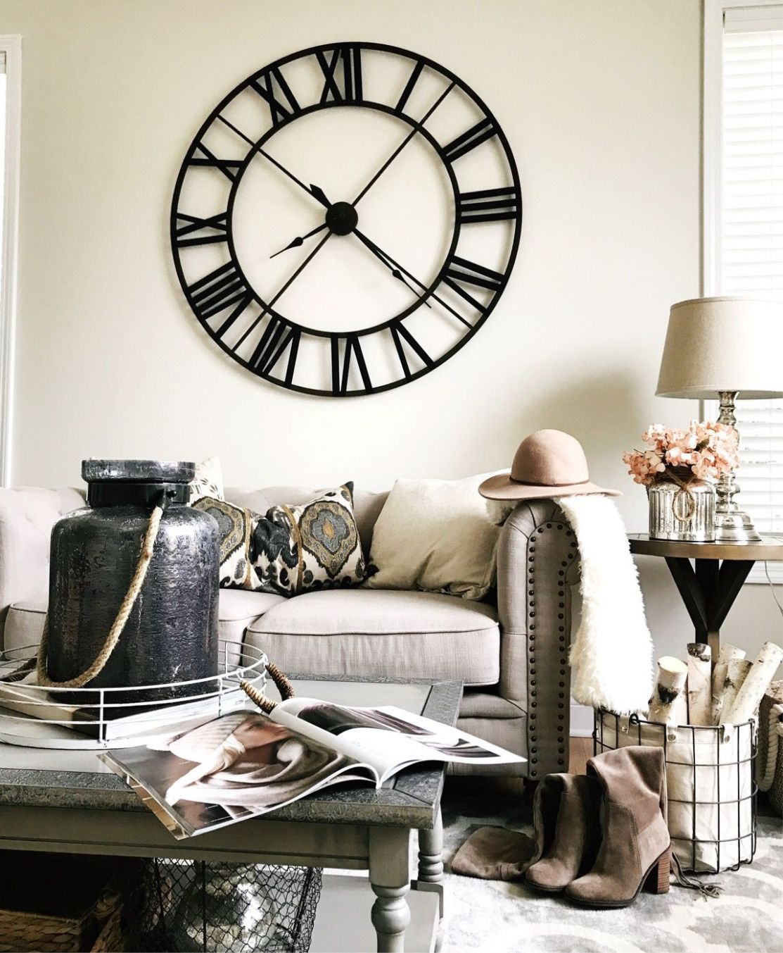 Rustic farmhouse decor . Living room decor ideas. Large wall clock ...