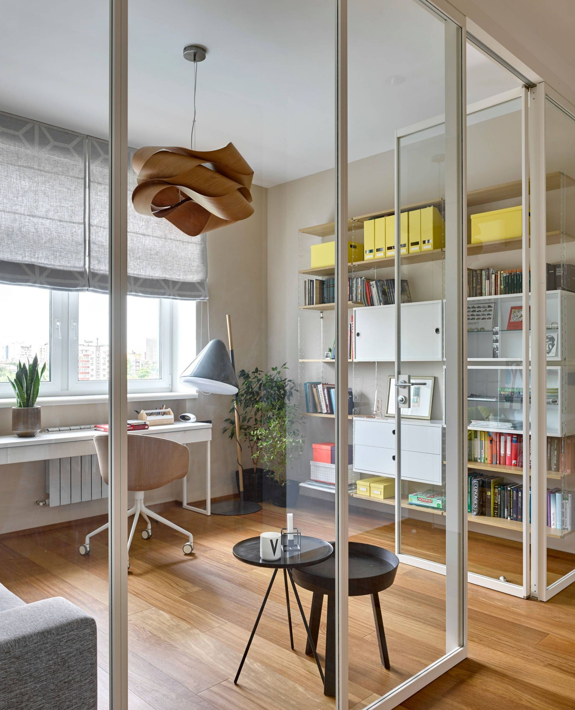 Scandinavian Home Office - Houzz | Interor design, Glass wall ..
