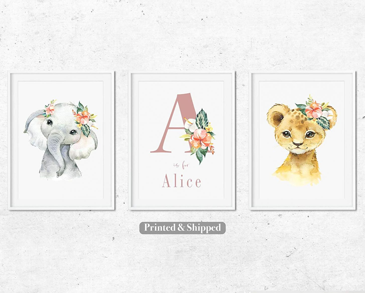 Set of 12 Nursery Wall Posters for Baby's Room, Personalised Girls Nursery  Print,Nursery Room Decor,Elephant, Cub and Name Prints,12 size options