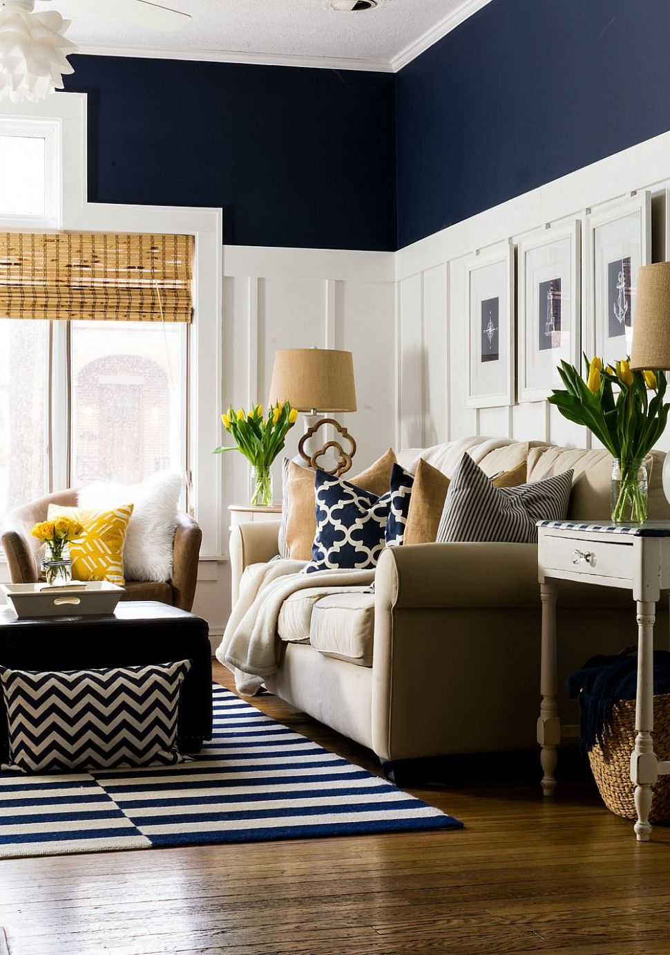 Spring Decor Ideas in Navy and Yellow | Navy living rooms, Navy ...