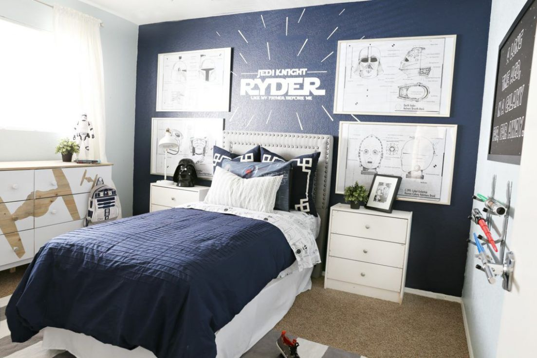 Star Wars Kids Bedroom Ideas With Grey Upholstered Single Bed With ..