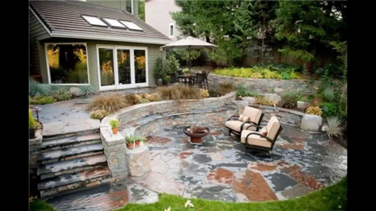Stone patio ideas - YouTube - backyard ideas stone
