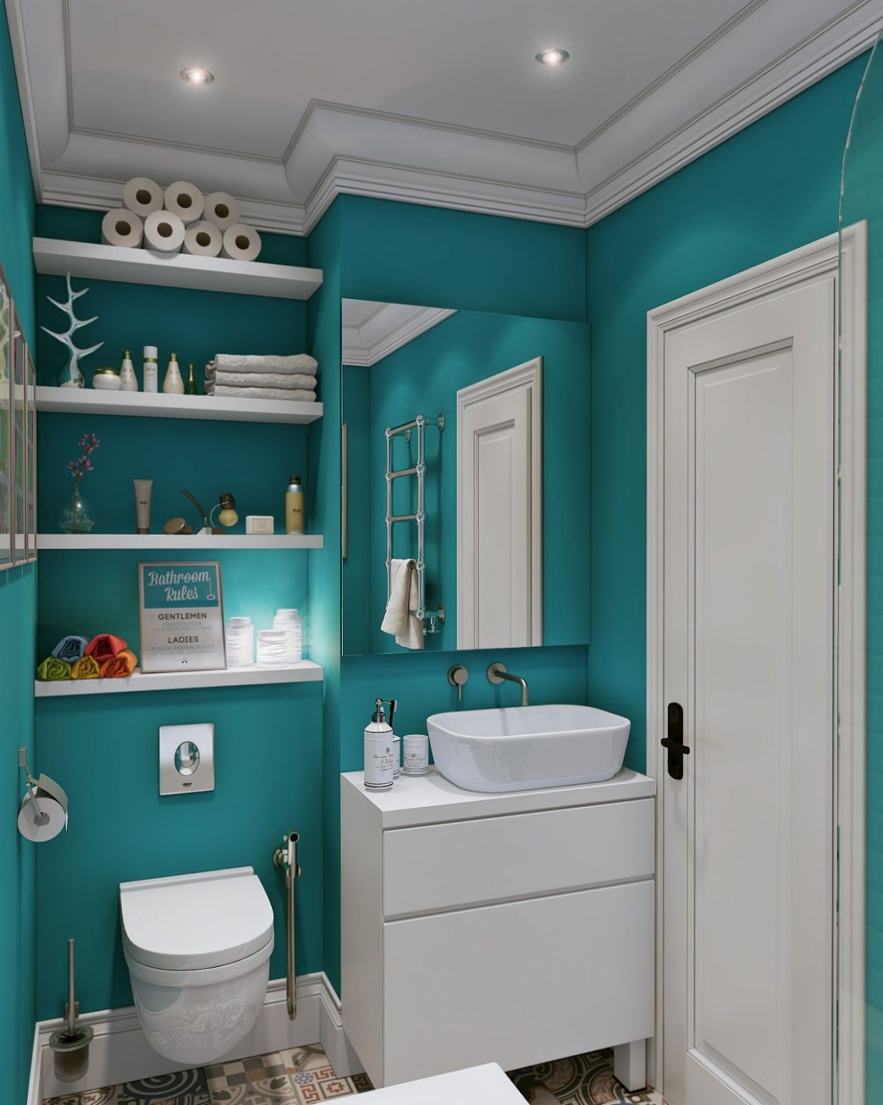 The bathroom is beautiful in a bright and boisterous teal ...