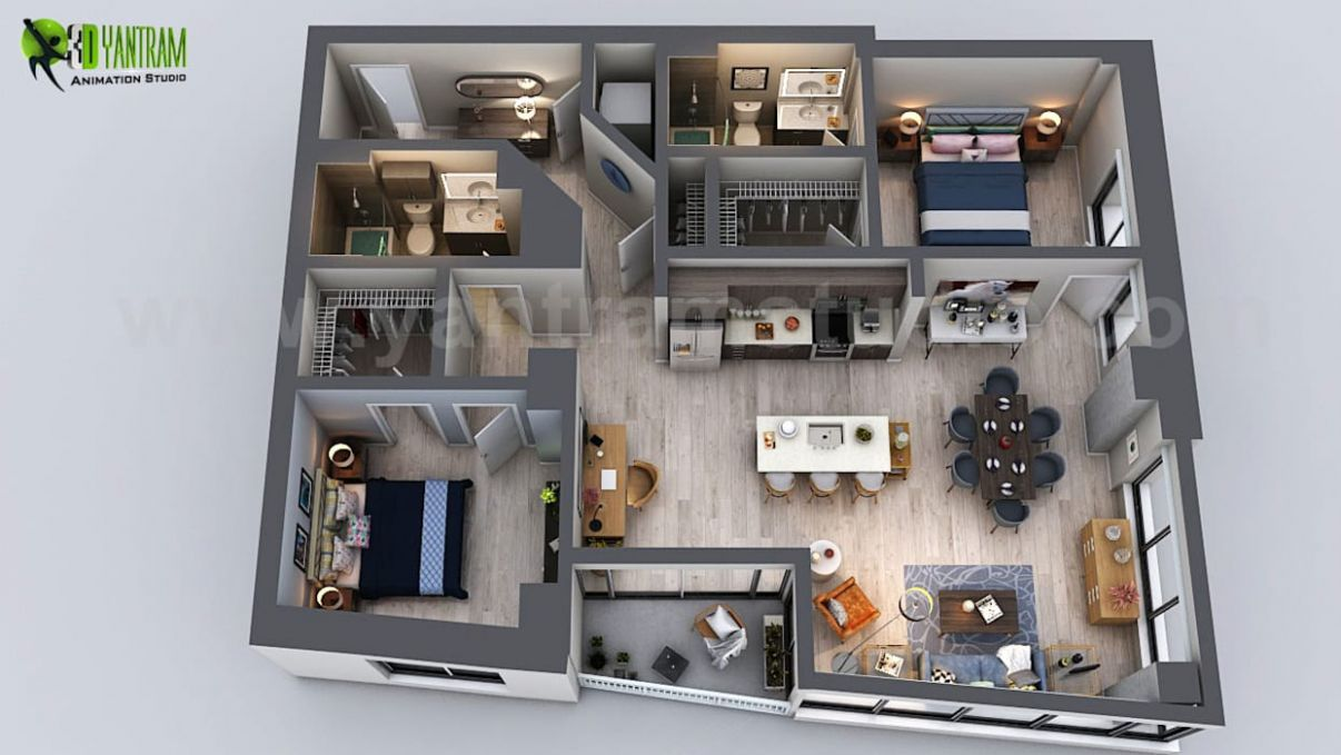 Unique residential apartment 8d floor plan rendering ideas by ..