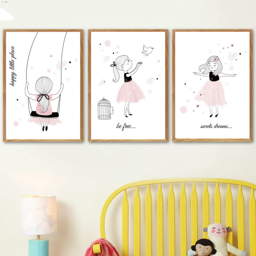 US $12.12 12% OFF|Nordic Posters Nursery HD Prints For Baby Room Cartoon  Little Girl Wall Art Canvas Painting Picture Kids Bedroom  Decoration|Painting ...