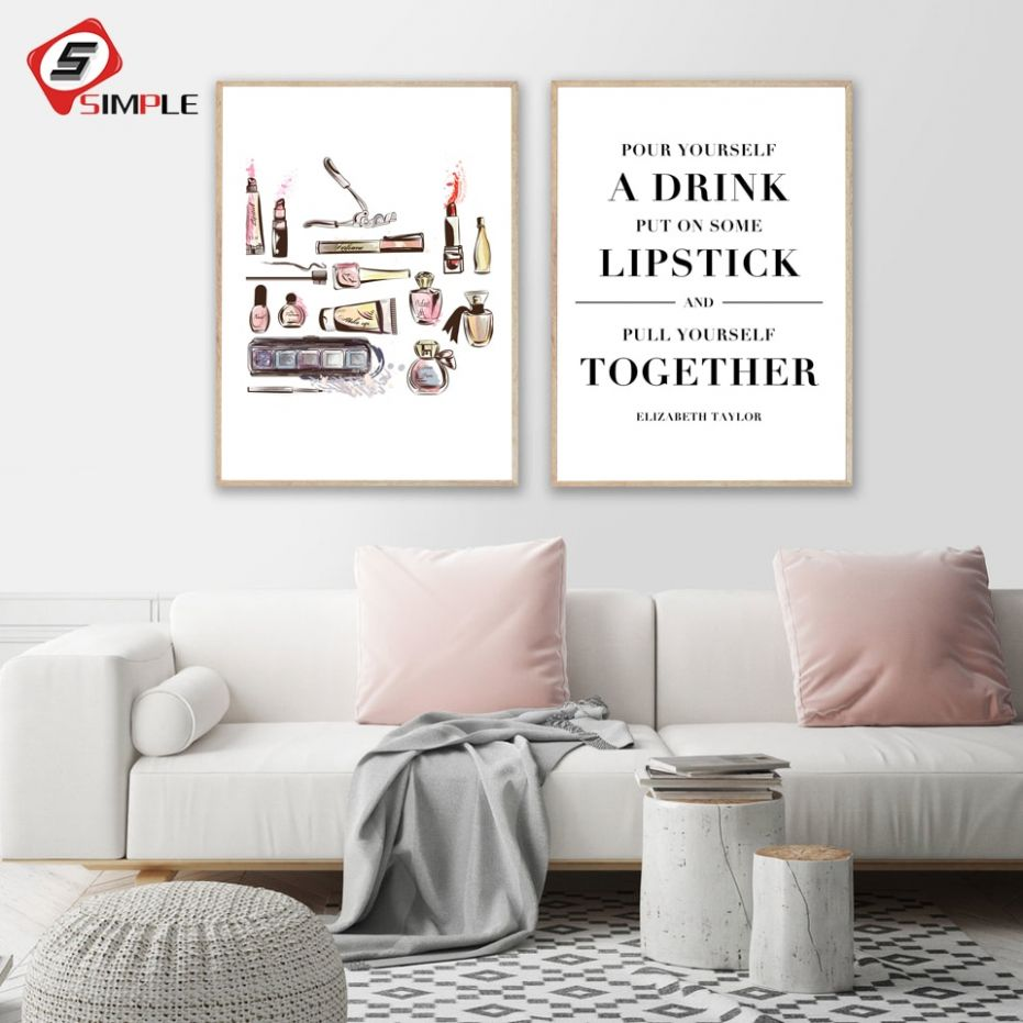 US $12.125 |Makeup Quote Canvas Art Prints Lipsticks Perfume Posters Canvas  Painting Calligraphy Wall Pictures Dressing Room Lady Art Decor|Painting &  ..