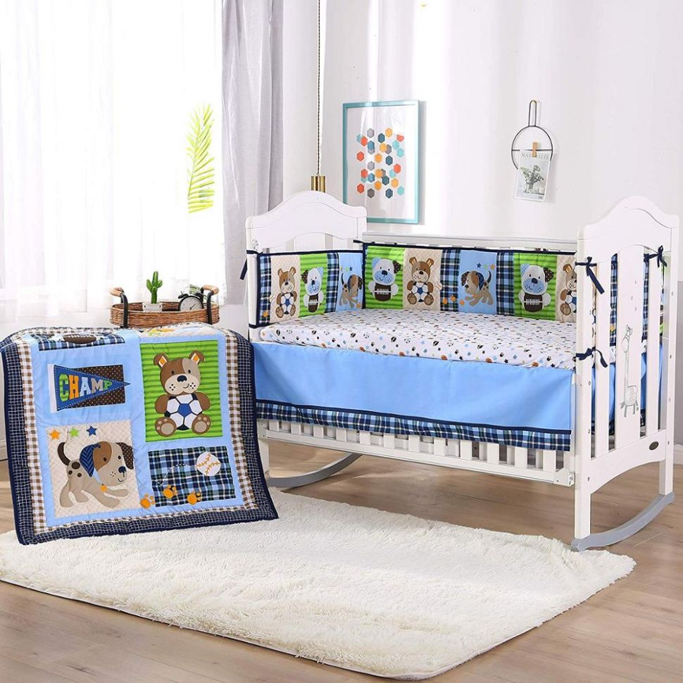 US $8.8 8% OFF|8PCS embroidered baby bedding set whale Cot Crib Bedding  Set kit berco Infant baby nursery (8bumper+duvet+bed cover+bed skirt)|kit  ...
