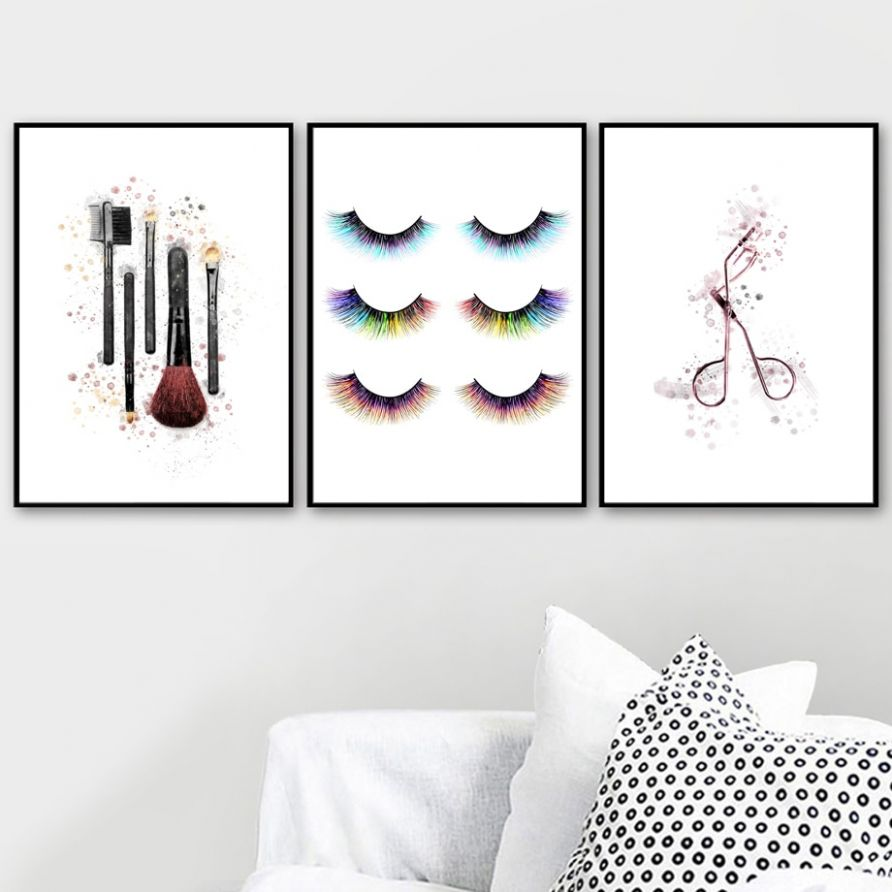 US $9.9 98% OFF|Fashion Makeup Brush Eyelash Wall Art Canvas Painting  Nordic Poster And Print Wall Picture For Living Room Home Decor|Painting &  ..