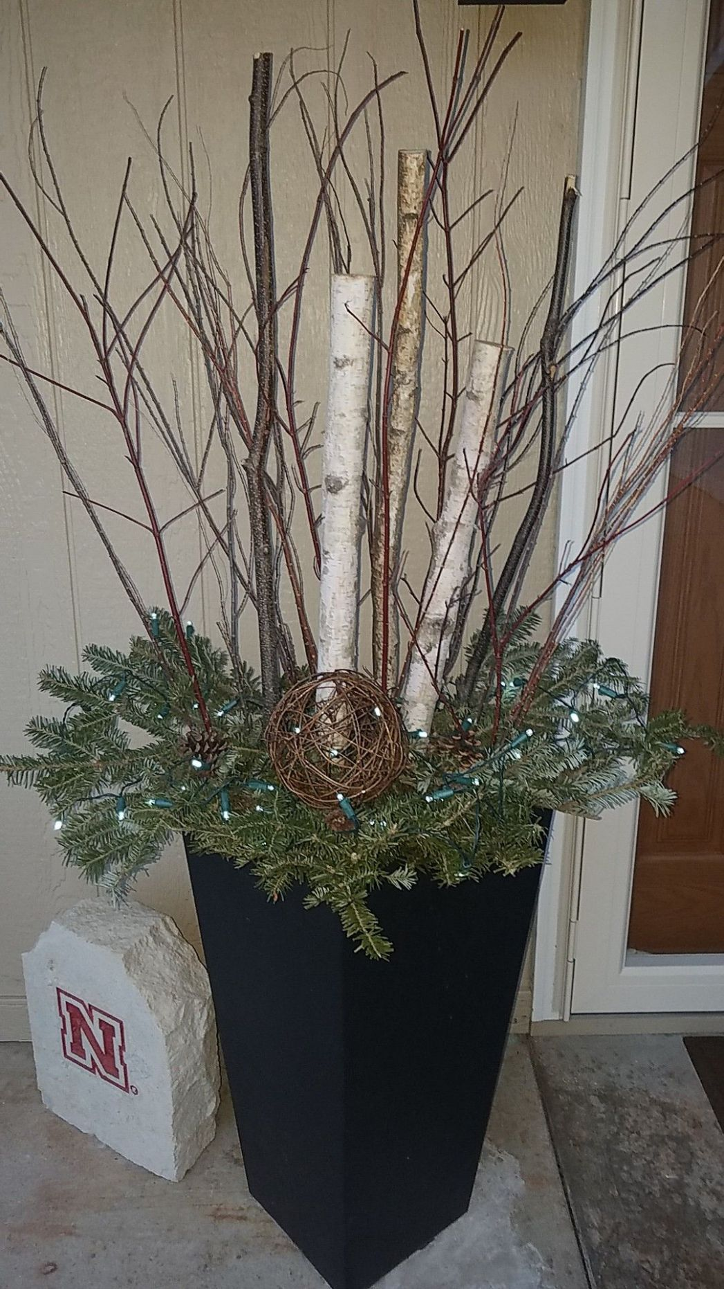 Wintery decorations for after Christmas Front porch Birch logs ..