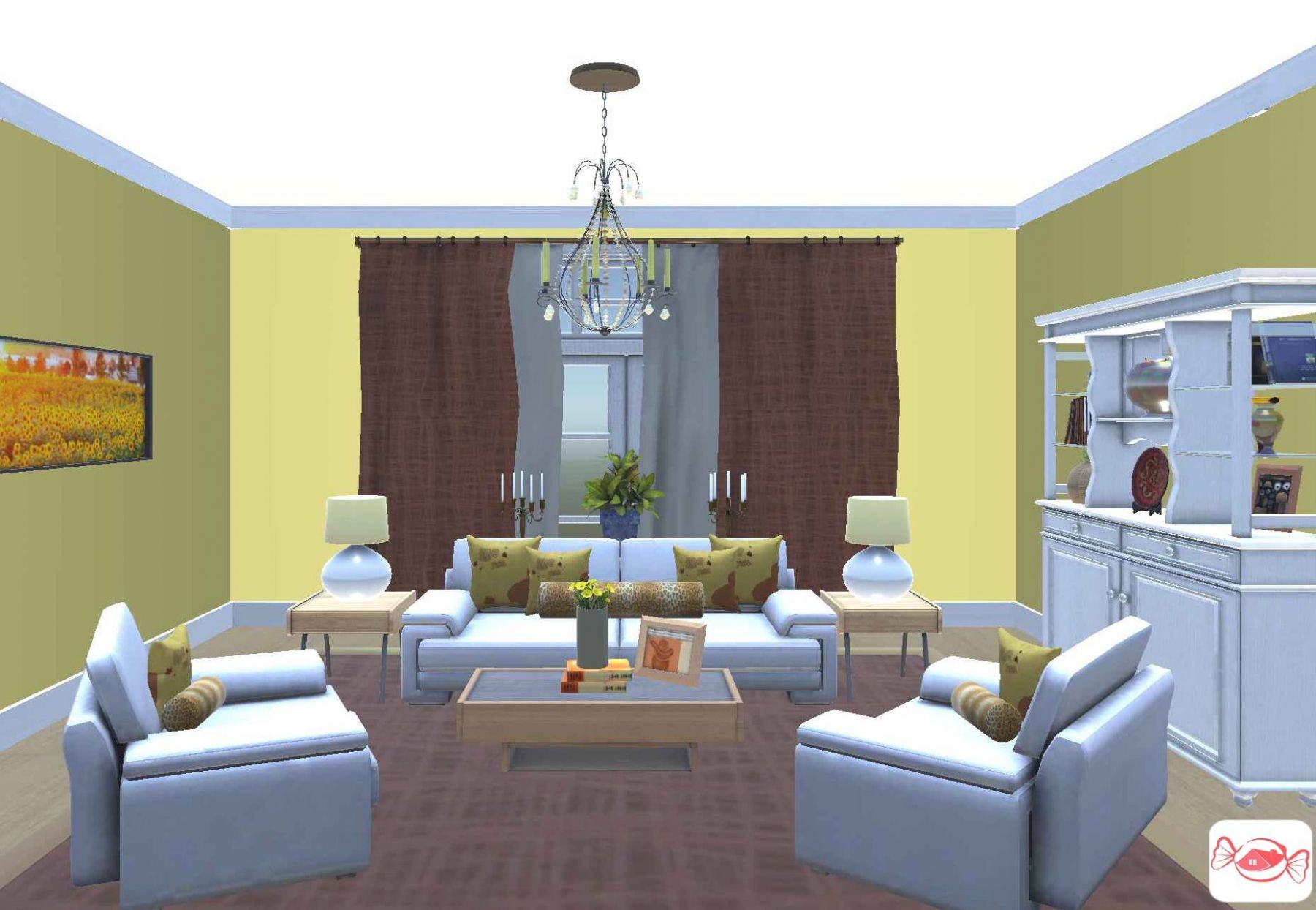 Yellow living room Created with Home Sweet Home 9D app   Yellow ...