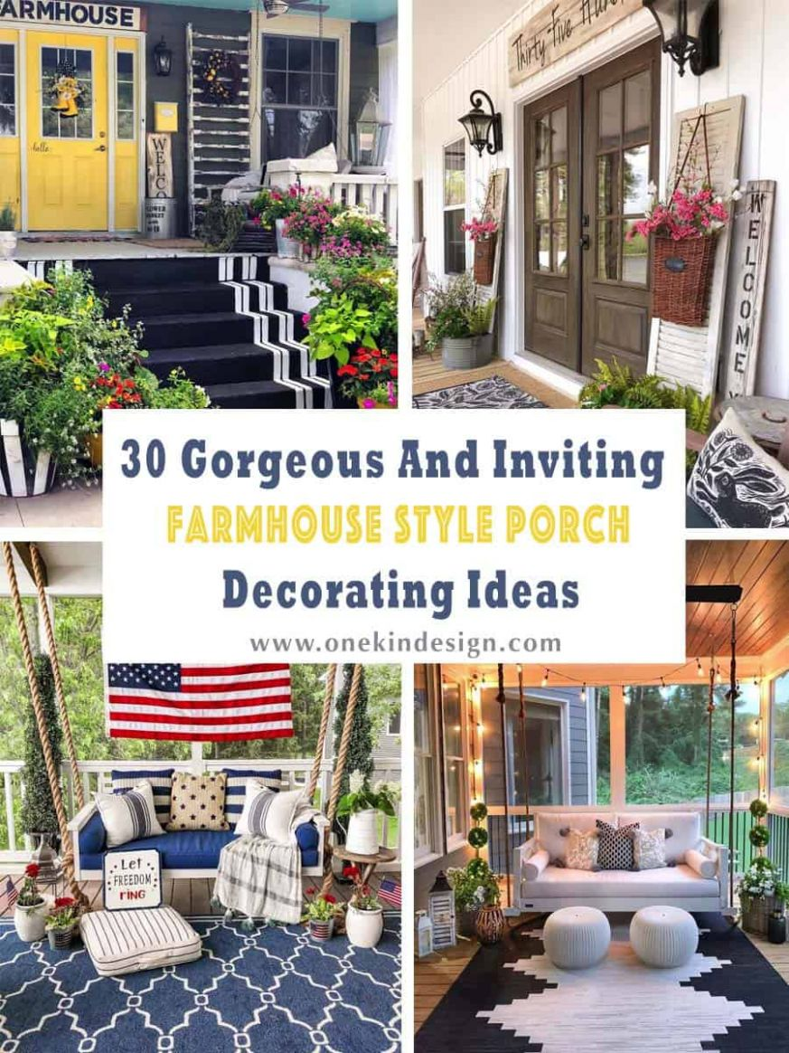 10 Gorgeous And Inviting Farmhouse Style Porch Decorating Ideas - front porch decor signs