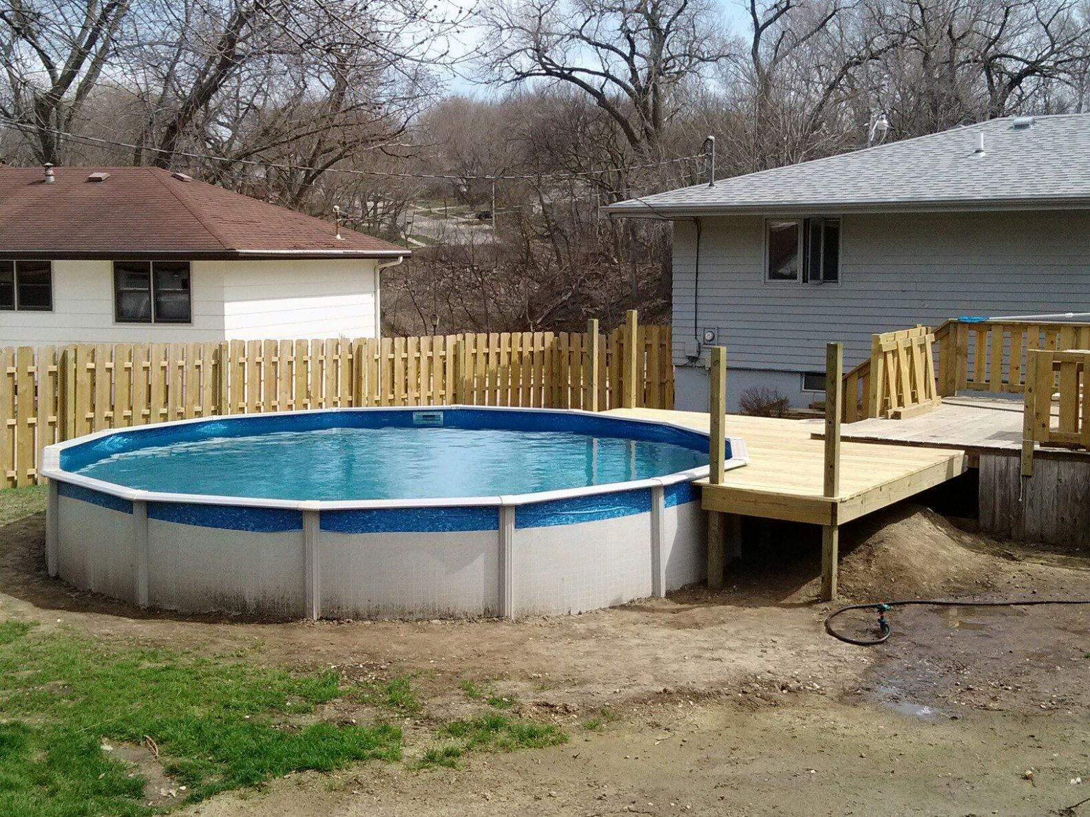 10' pool deck off of existing deck | Pool, Backyard retreat