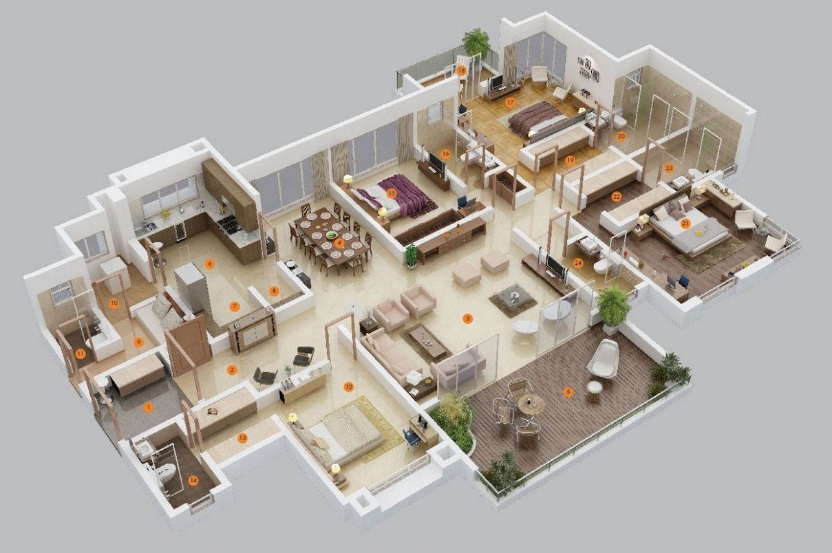 11 Bedroom Apartment/House Plans - apartment design architecture pdf