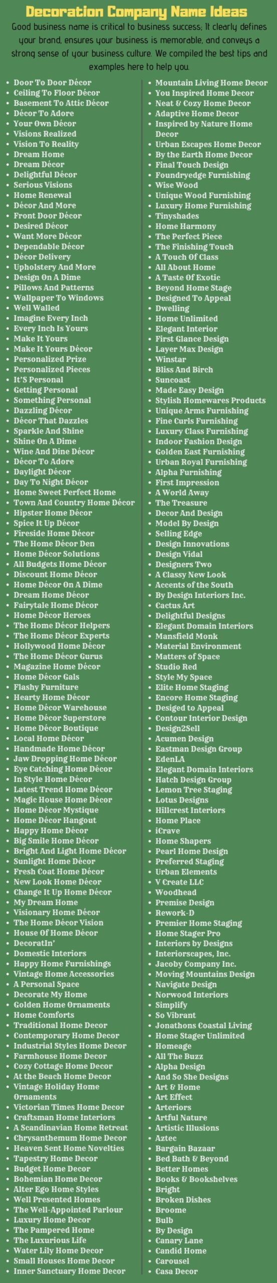 11+ Catchy Home Decor Business Names Ideas of All Time