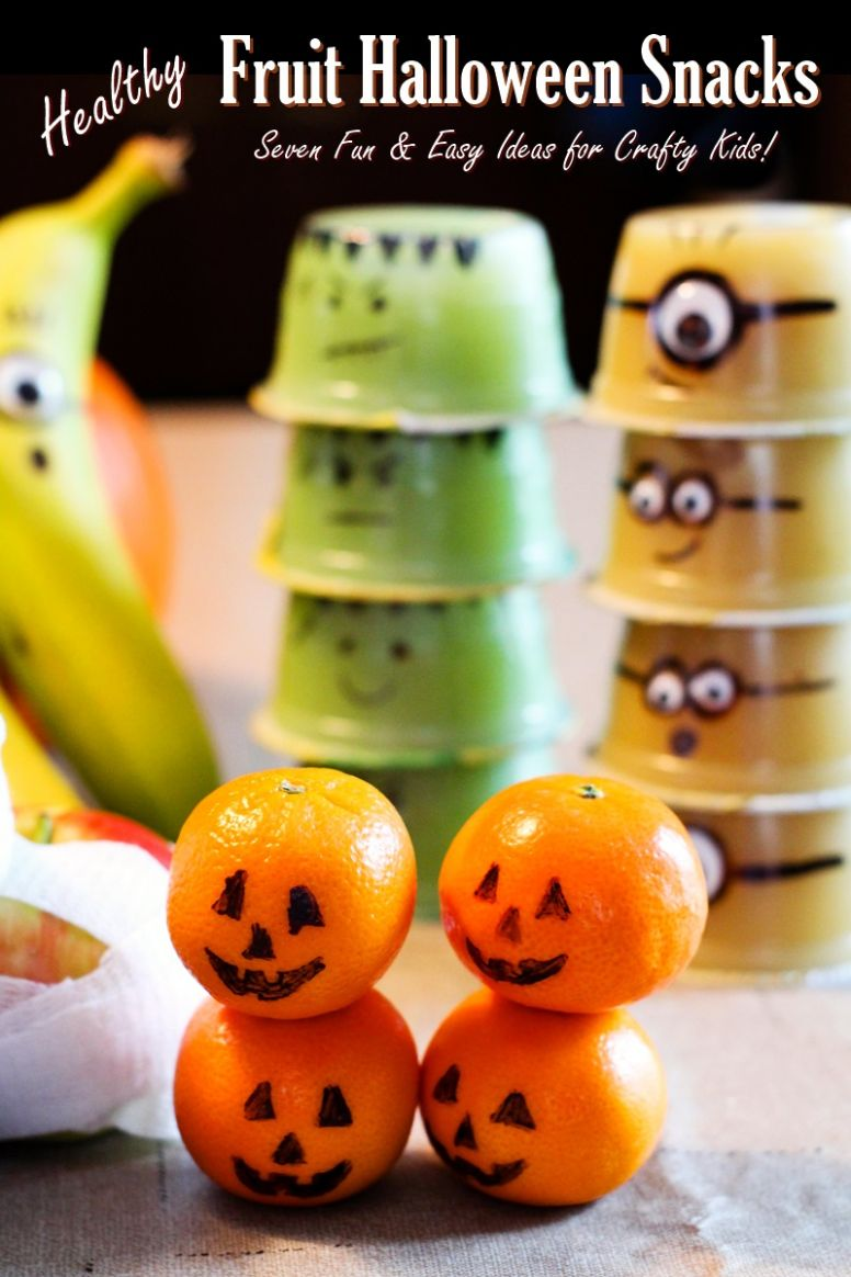 11 Fun Healthy Fruit Halloween Snacks You Can Pack (Crafty with Kids!)