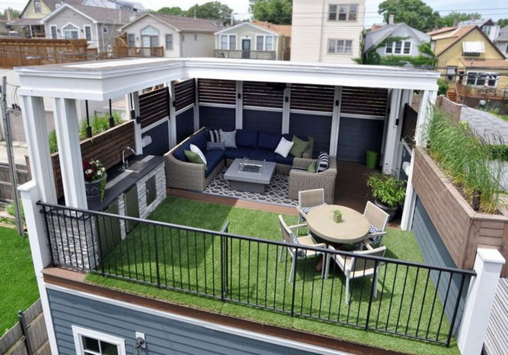 11 Incredible Rooftop Patio Designs With Fire Pit Ideas | Rooftop ...