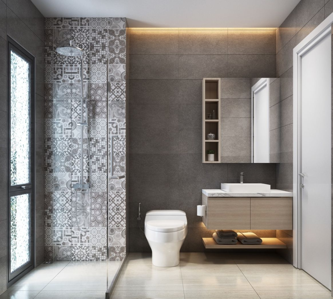 11 Modern Grey & White Bathrooms That Relax Mind Body & Soul - bathroom ideas grey tiles