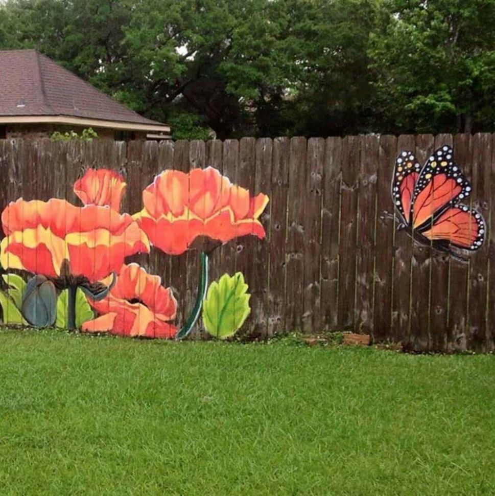 11 Stunning Fence Painting Designs to Inspire Your Own Backyard - backyard mural ideas