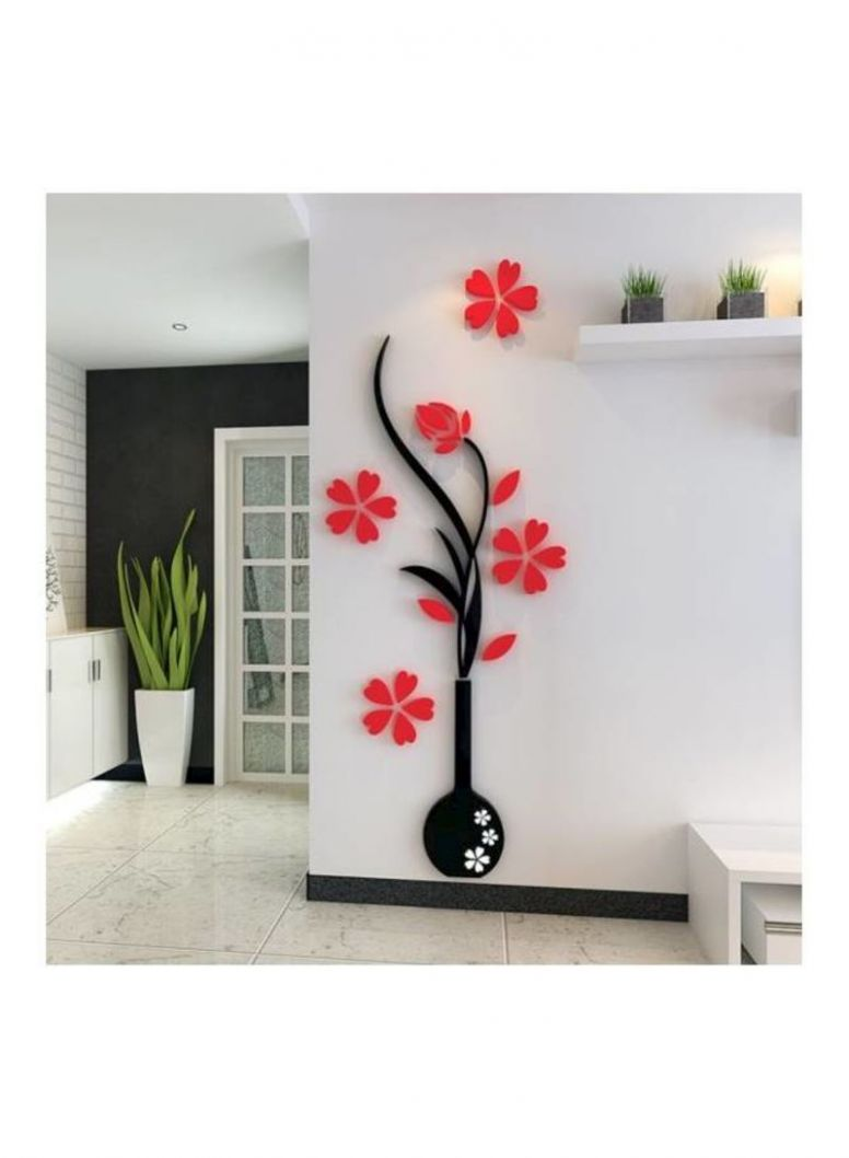 11D Vase Flower Tree DIY Removable Art Vinyl Wall Stickers Decal Mural Home  Decor For Home Bedroom TV Background Decoration mm Red - home decor tree