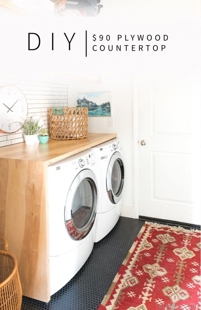 $12 DIY Plywood Waterfall Countertop (With images)   Laundry room ..