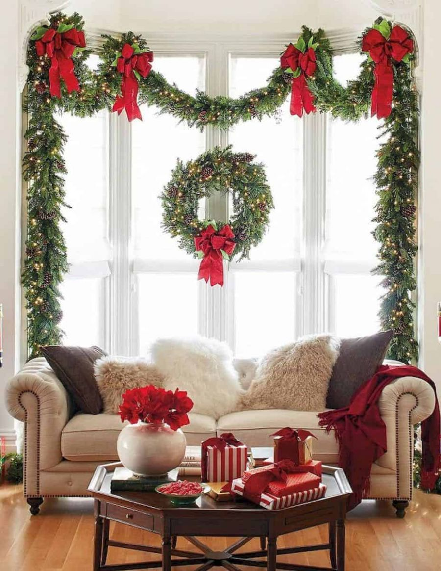 12 Gorgeous Ways to Decorate Your Home With Christmas Garland - window garland ideas
