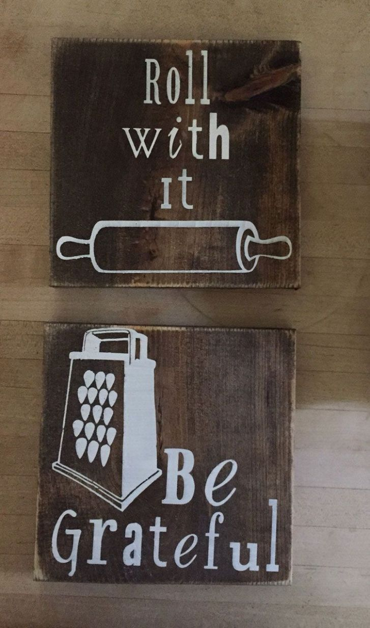 12 Kitchen Wall Decor Ideas (With images) | Wooden kitchen signs ...