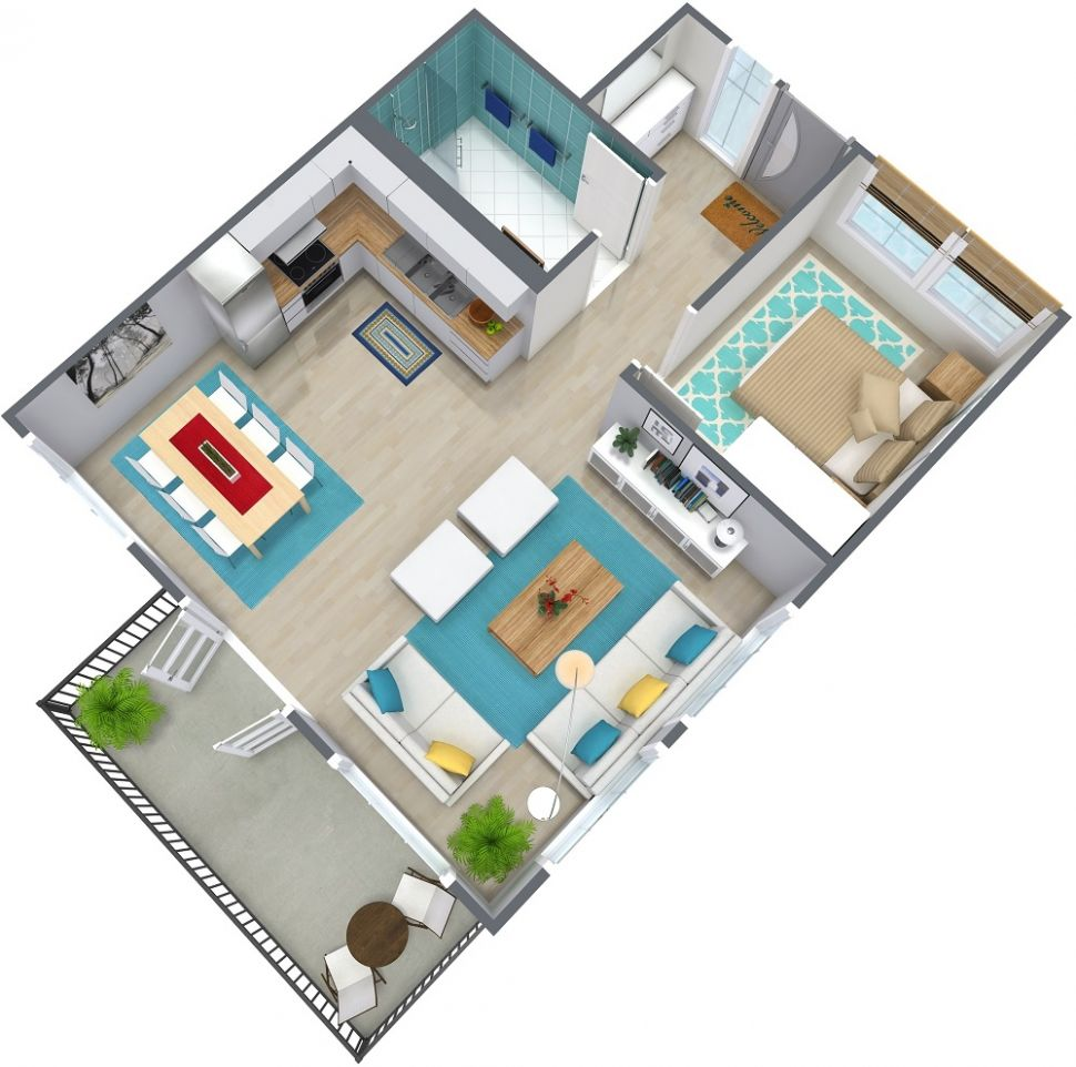 8 Bedroom Apartment Floor Plan | RoomSketcher - apartment design one bedroom