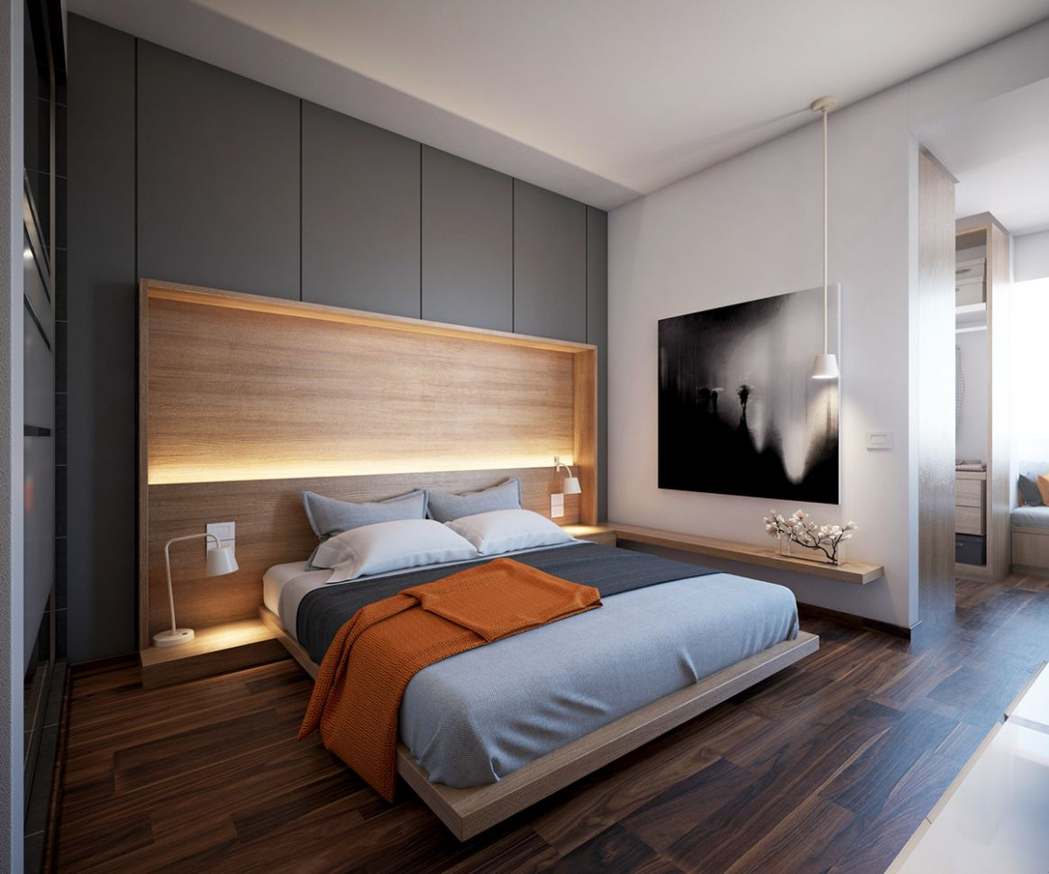 8 Gorgeous Grey Bedrooms - bedroom joinery ideas