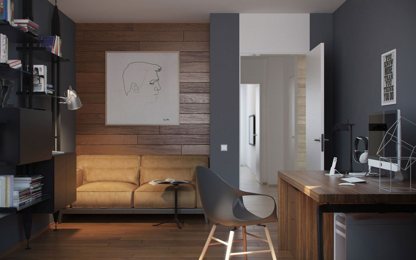 8 Ideas For A One Bedroom Apartment With Study (Includes Floor Plans) - apartment office design