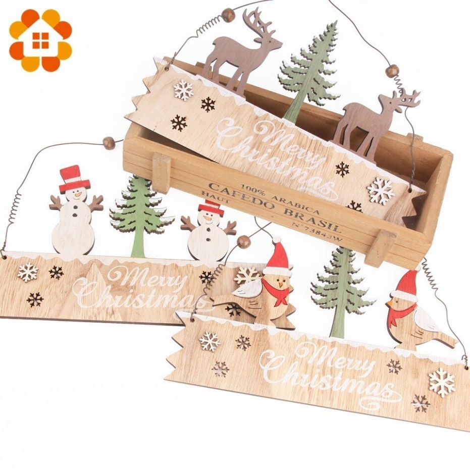 8pcs DIY Creative Wooden Doorplate Christmas Pendants Decoration ..