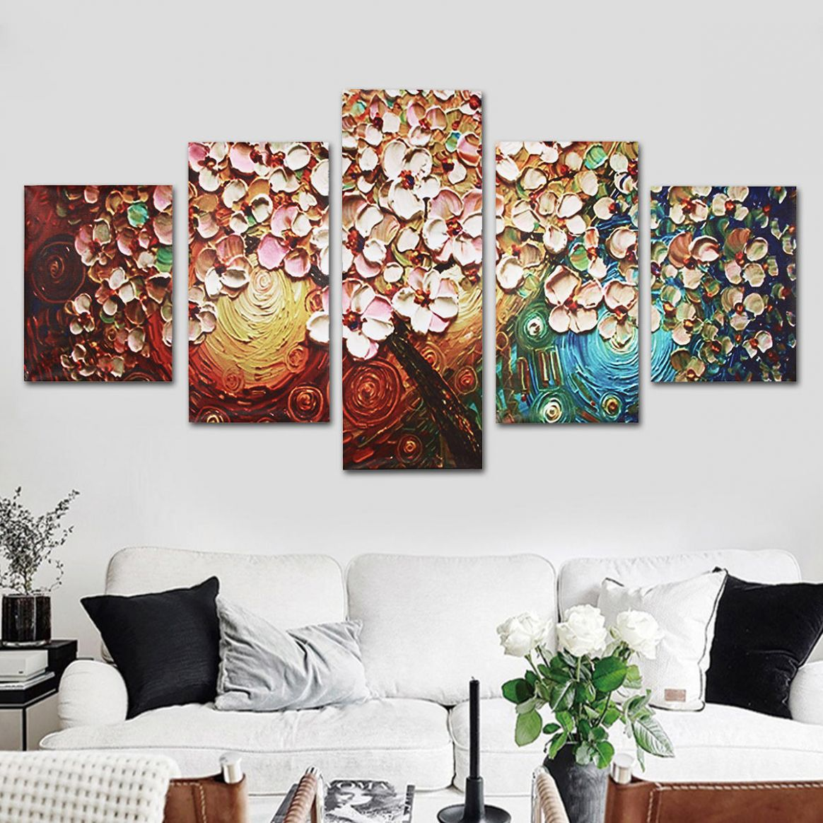 8Pcs Flower Tree Abstract Canvas Print Paintings Pictures Art Home Decor  Unframed