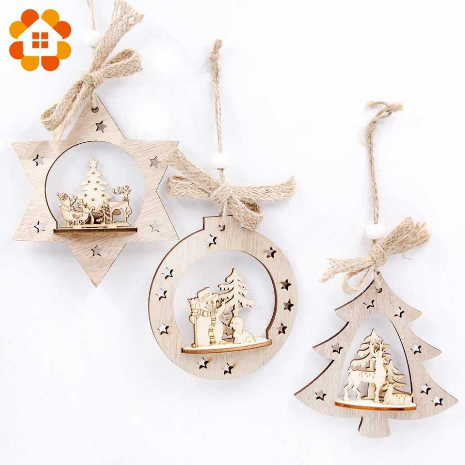 8pcs/set DIY Creative Wooden Christmas Pendants Decoration Wood ..