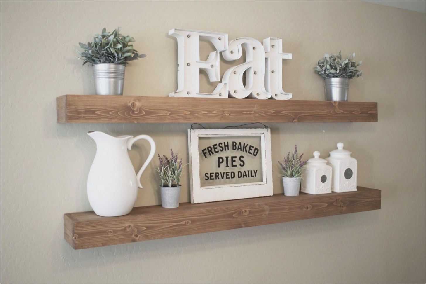 9 Best Rustic Farmhouse Floating Shelves Decor Ideas | Home decor ...