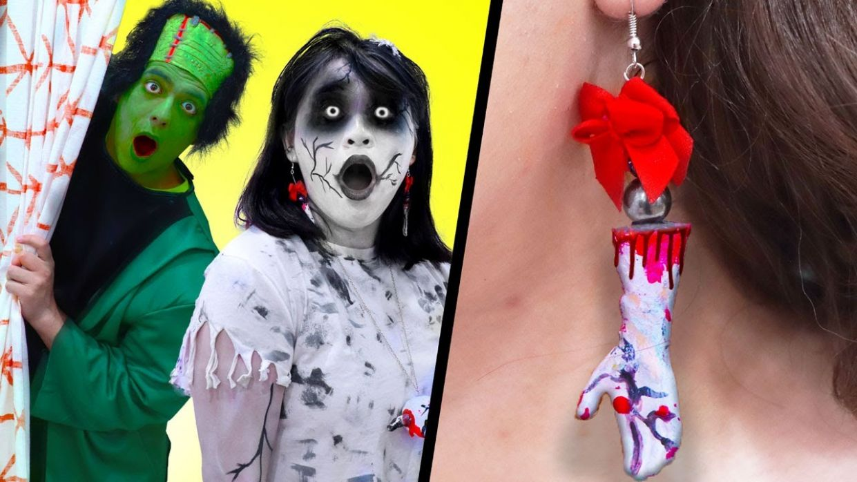 9 ZOMBIE DIY SCHOOL SUPPLIES IDEAS | FUNNY CRAFTS AND LIFE HACKS FOR CLASS - zombie makeup emergency room
