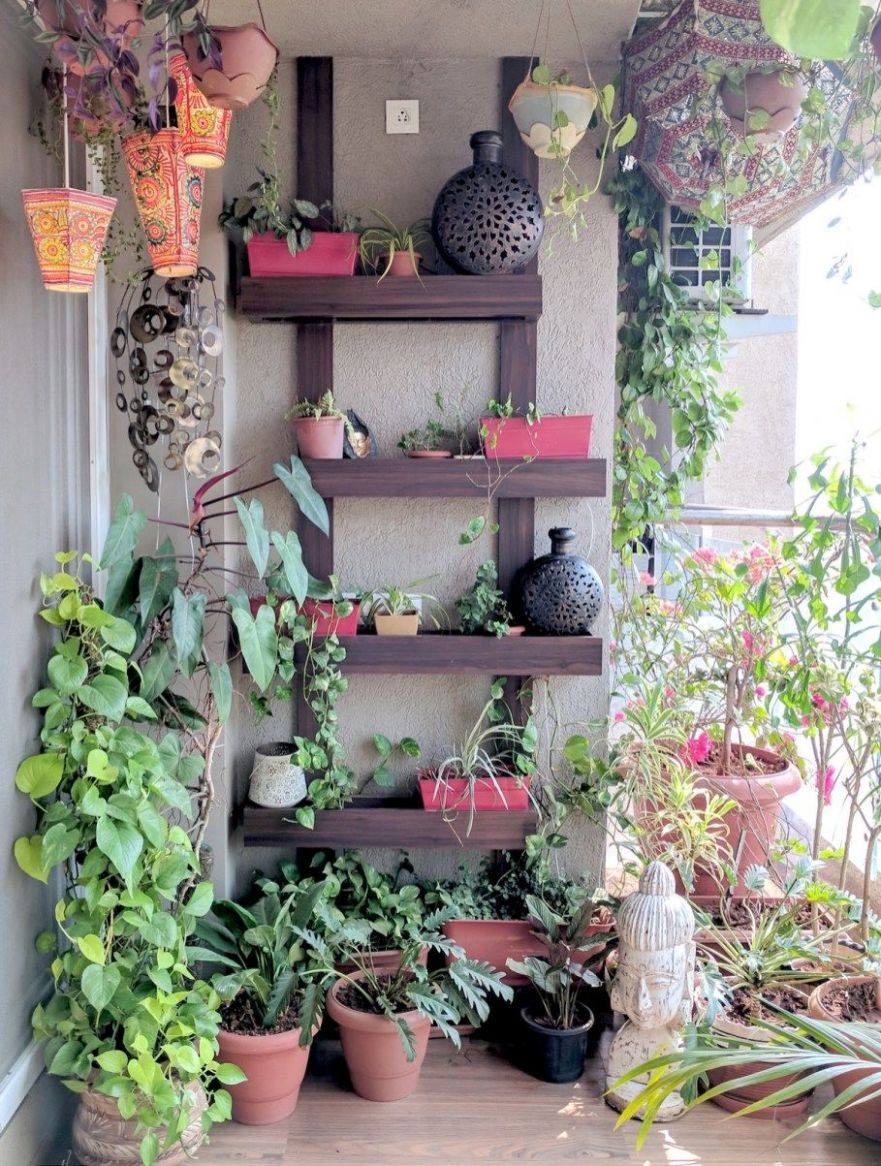 A Balcony Garden In Mumbai - Terrace Reveal (11) | Diy pergola ..