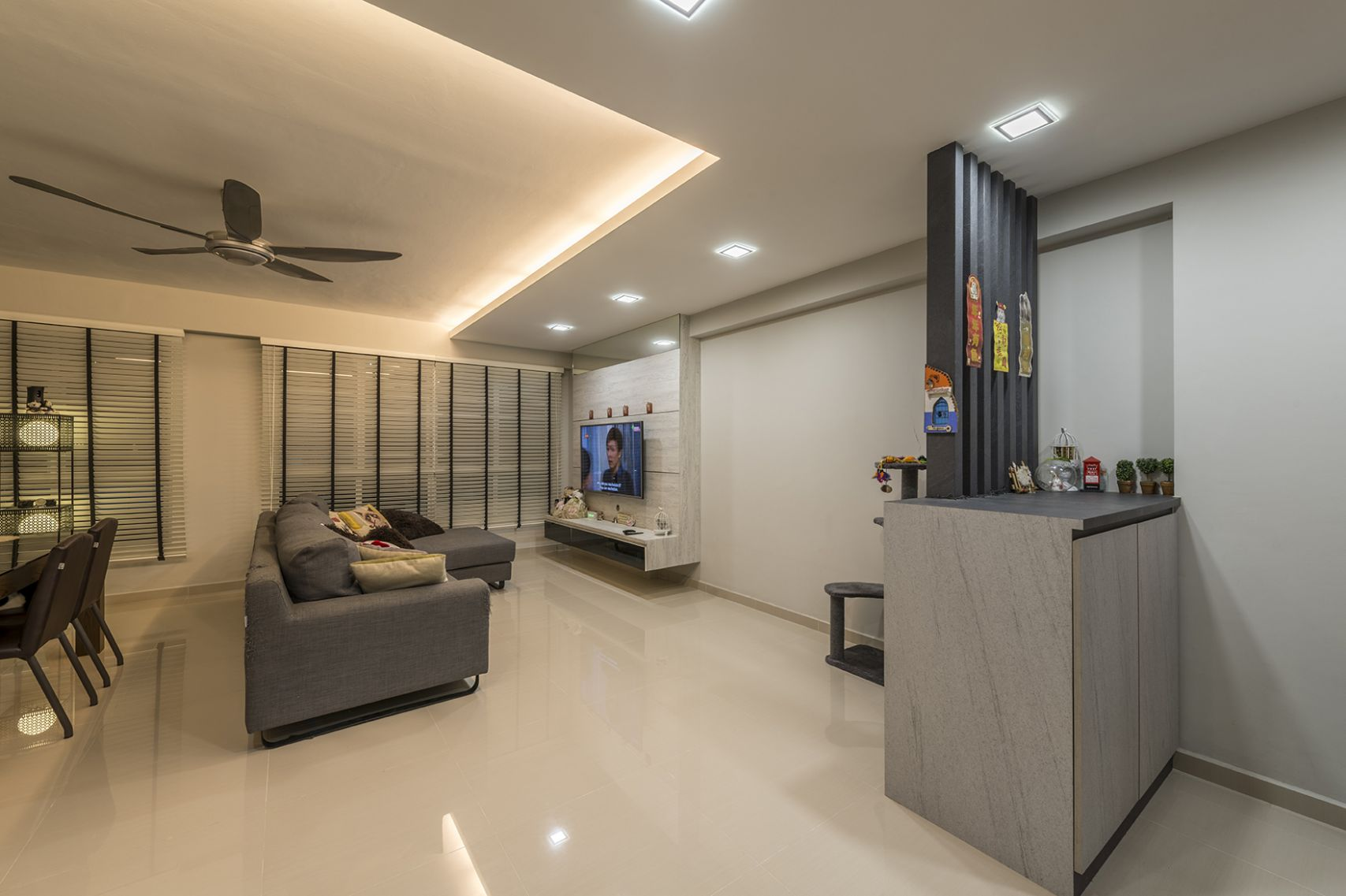 A Clean And Contemporary Look For This Room Hdb Flat Looks Living ...