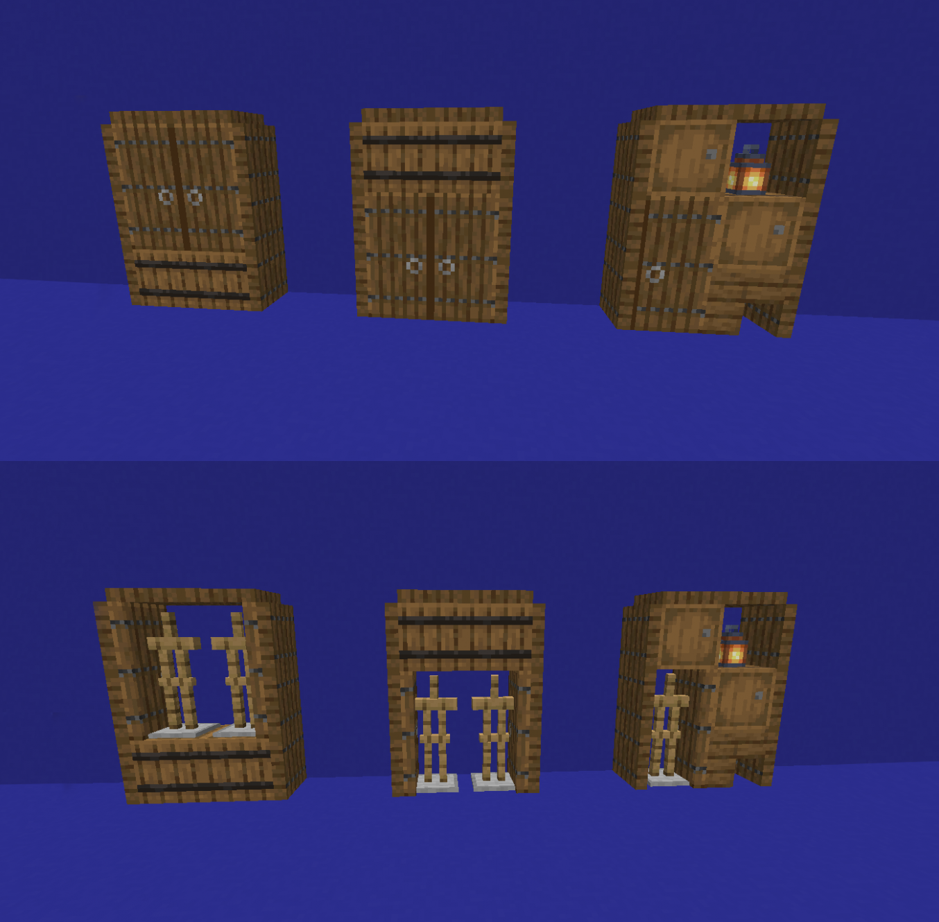 A few different closets designs with armor stands and storage ...