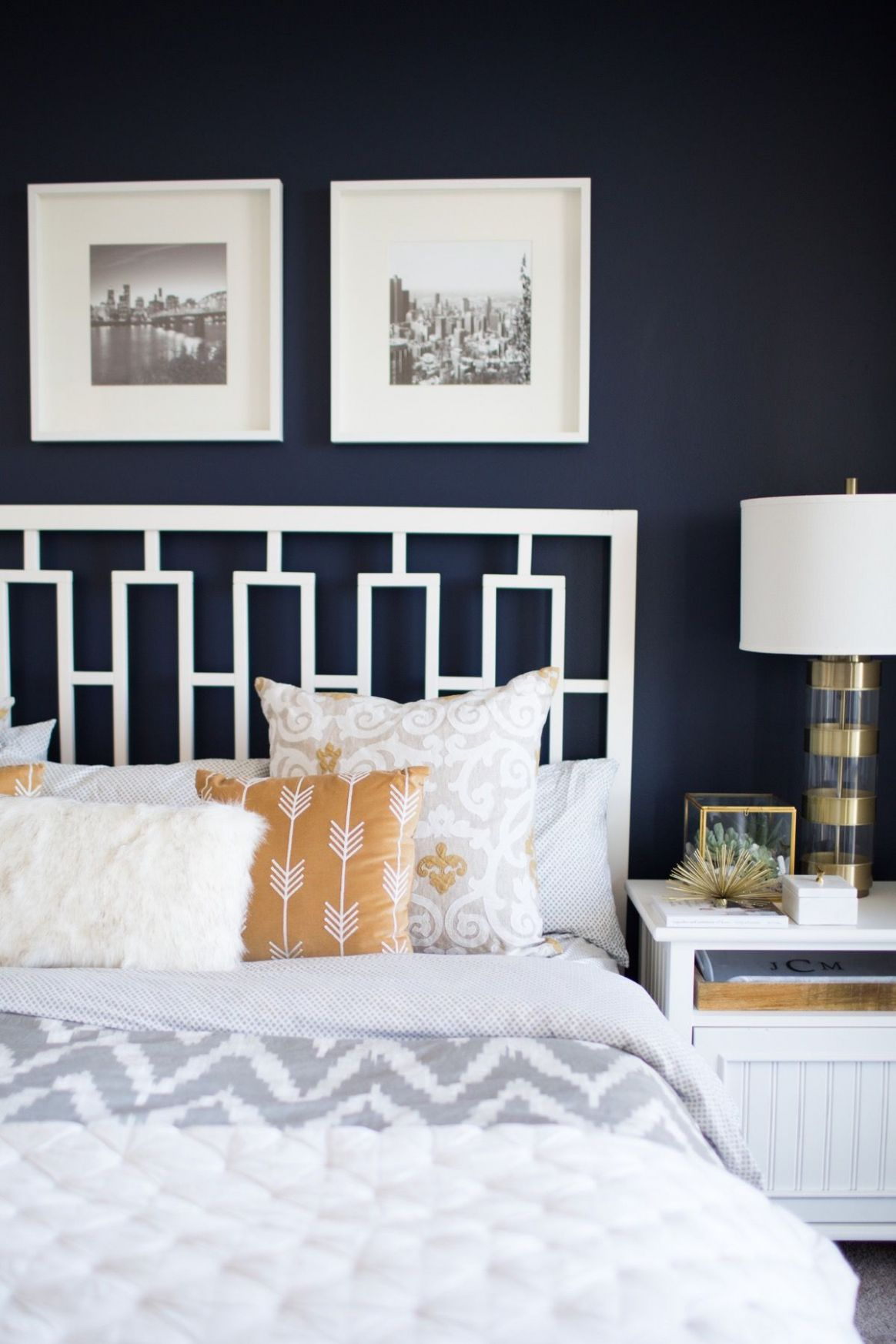 A Look Inside A Blogger's Navy and Mustard Bedroom (With images ...