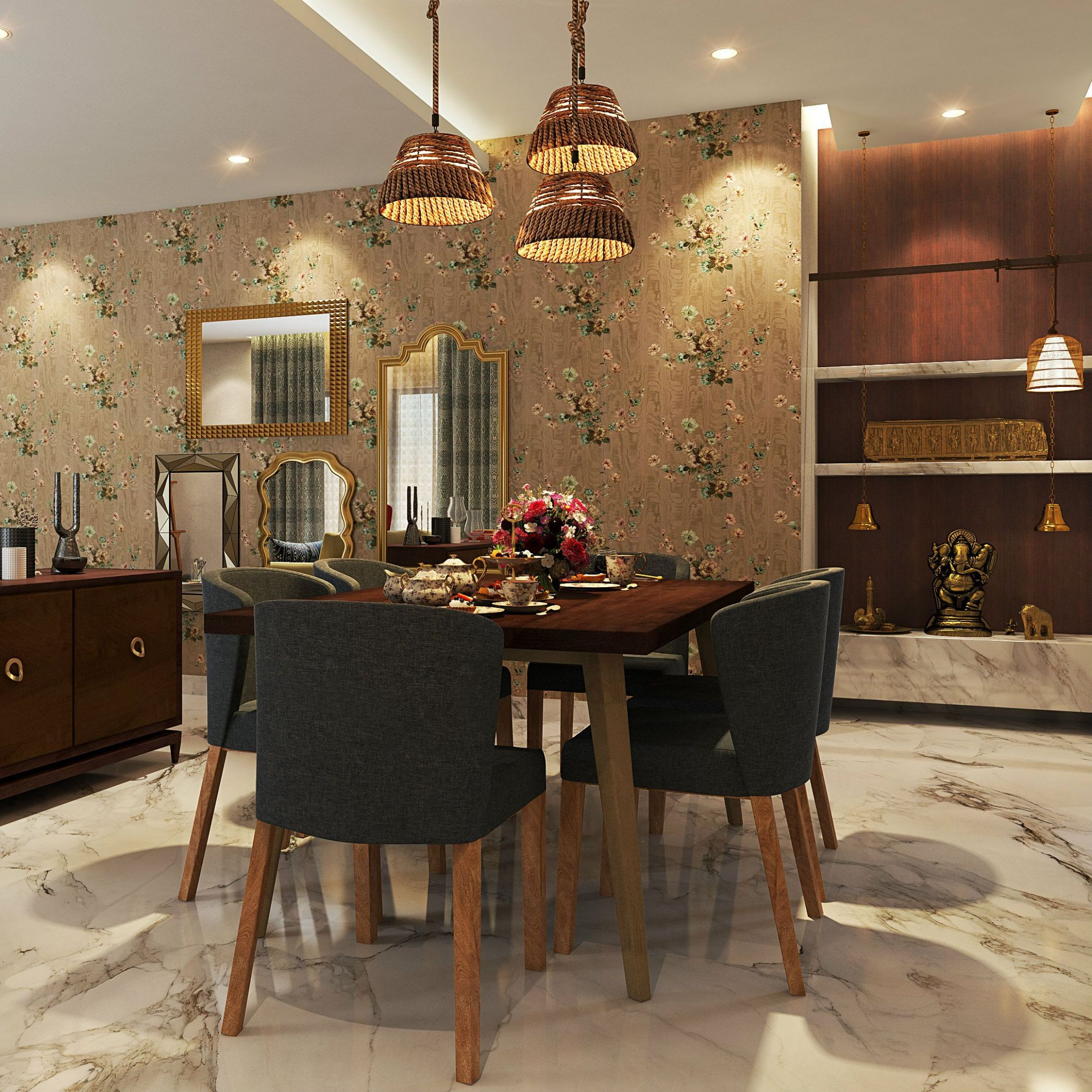 A luxurious dining room with a pooja unit beside it. Charming ...