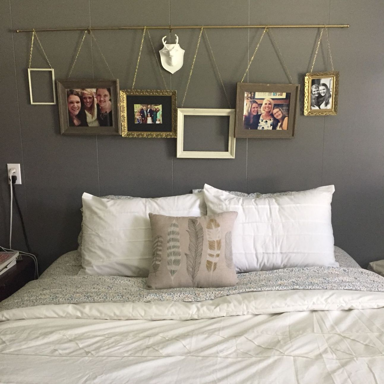 Above bed ideas. Hanging pictures from a curtain rod. Easy and ...
