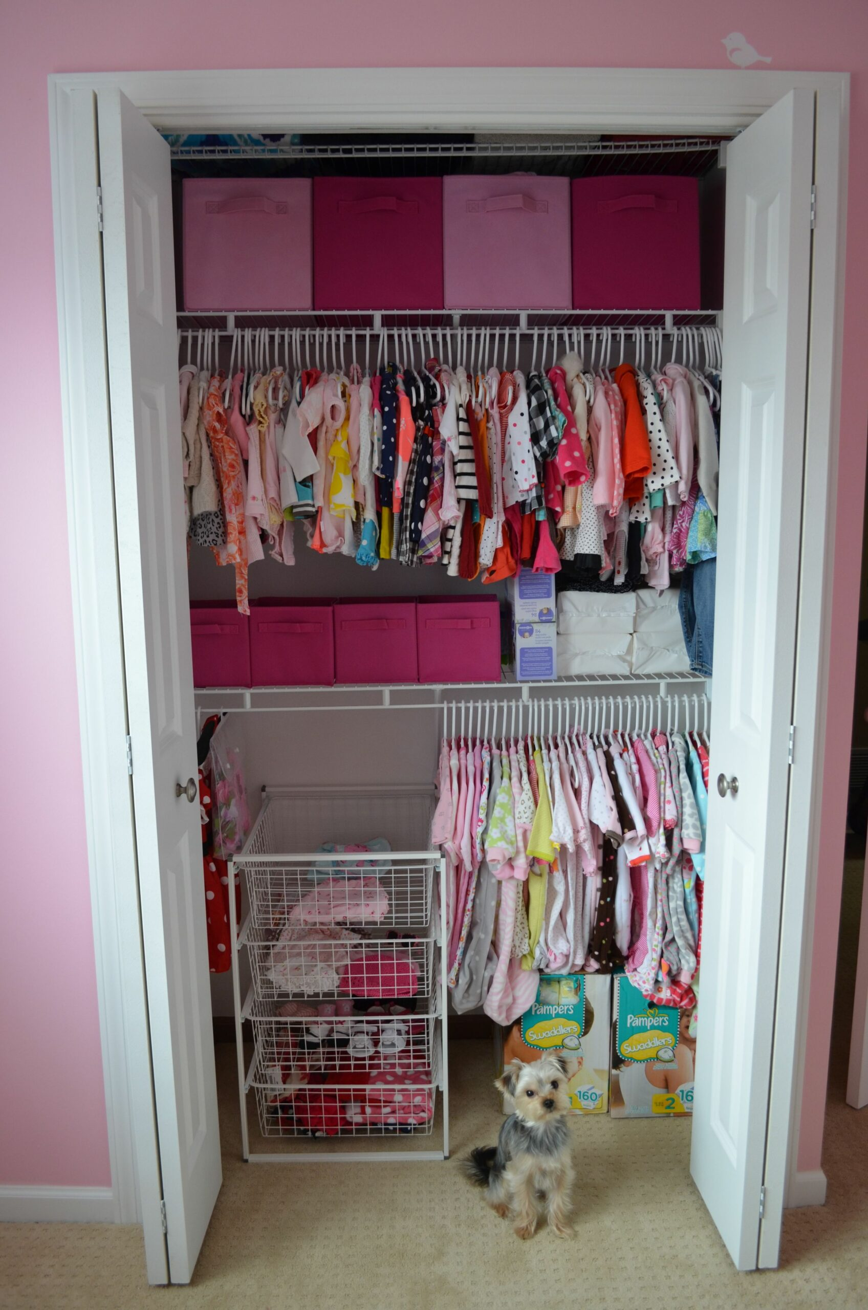 Added an extra shelf for an organized baby closet - great idea for ..