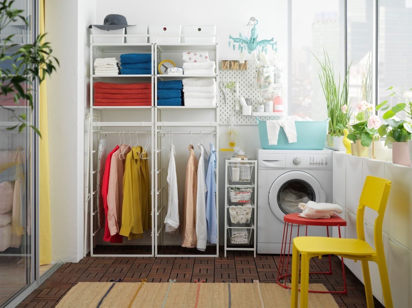 Affordable laundry room with JONAXEL shelving unit - IKEA - laundry room ideas ikea