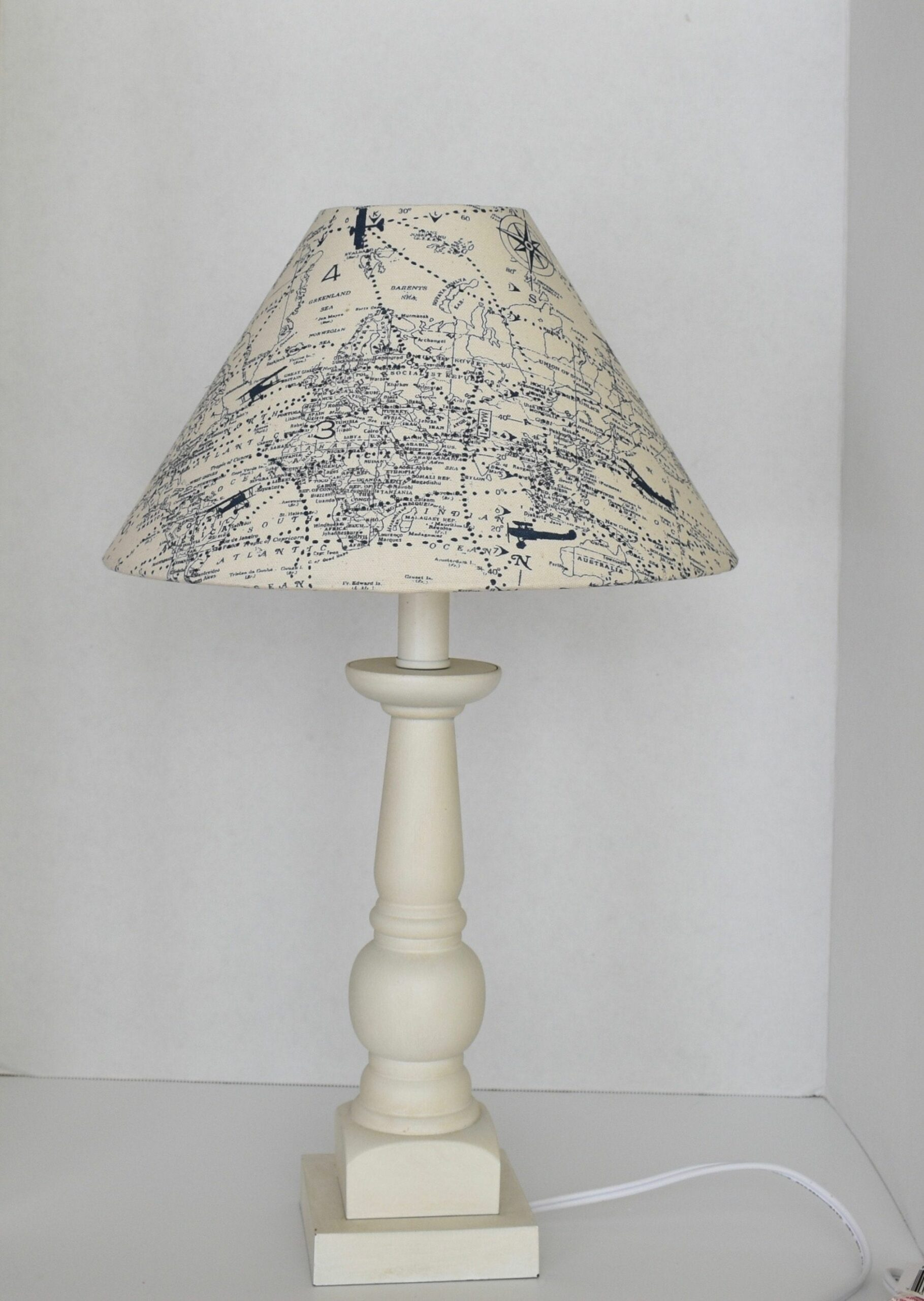 Airplane Lampshade -Vintage World Map Navy Blue Natural Cream ...