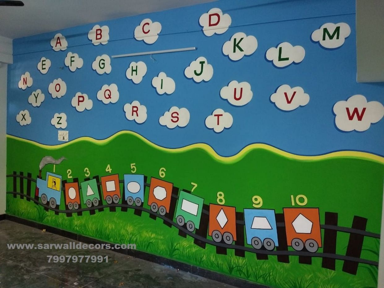Alphabet wall paintings in 11   School wall art, Wall painting ..