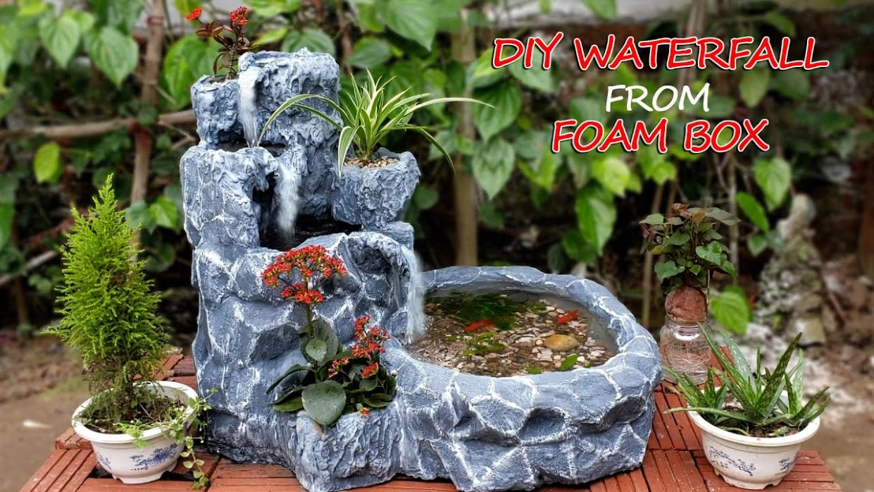 Amazing Ideas - Make Beautiful Waterfall From Foam Box and Cement - For  Your Garden - garden ideas to make