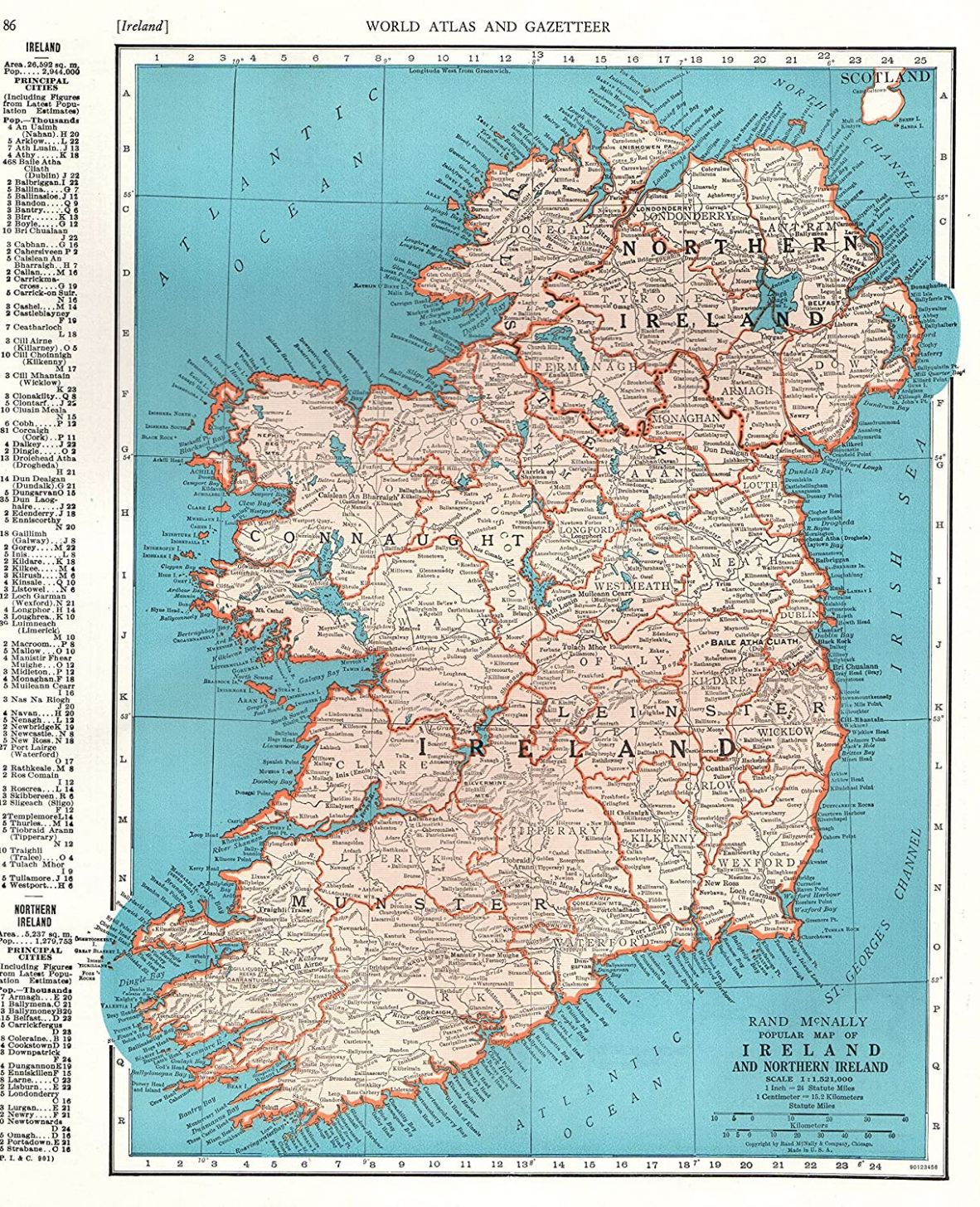 Amazon.com: 8 Antique Ireland Map Original Vintage Map of ..