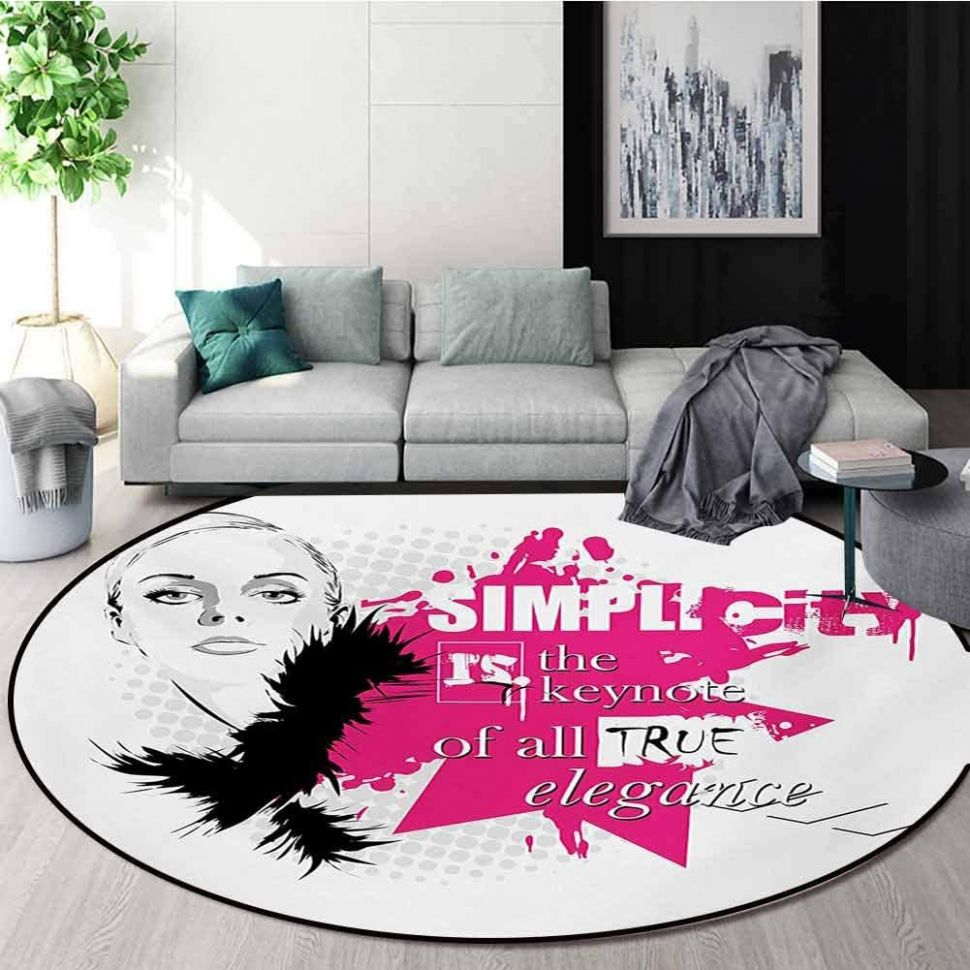 Amazon.com: RUGSMAT Girls Round Area Rug,Lady Face with Makeup ...