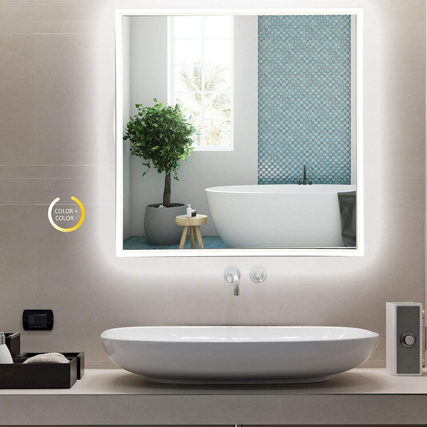 "Amazon.com: XYQ 12"" LED Lighted Bathroom Wall Mirror 12 Colors ..."